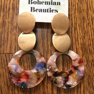 Jewelry - Multicolor Acrylic and Brass earrings